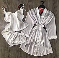 Белый шифоновый халат+атласная пижама-набор одежды для сна и дома.