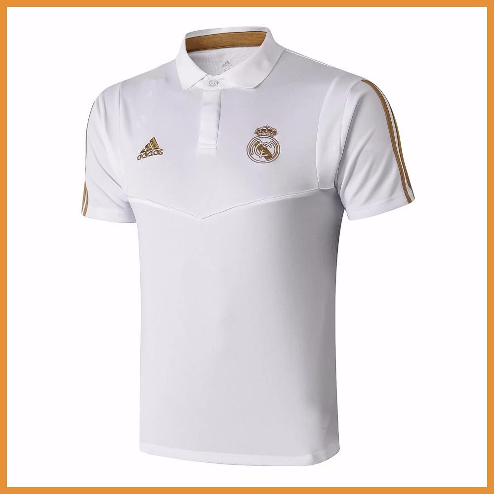 Футболка поло Реал Мадрид (Real Madrid) белая, сезон 19-20 c золотистым лого