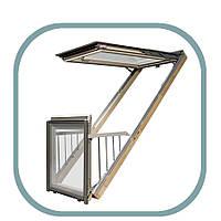 Мансардное окно балкон Galeria Fakro с системой микропроветривания, окно-балкон трансформер, выдвижной балкон