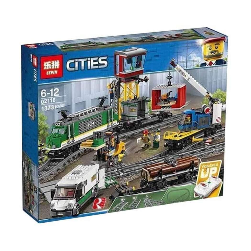 """Конструктор Lepin 02118 """"Товарный поезд"""" (аналог Lego City 60198), 1373 дет"""