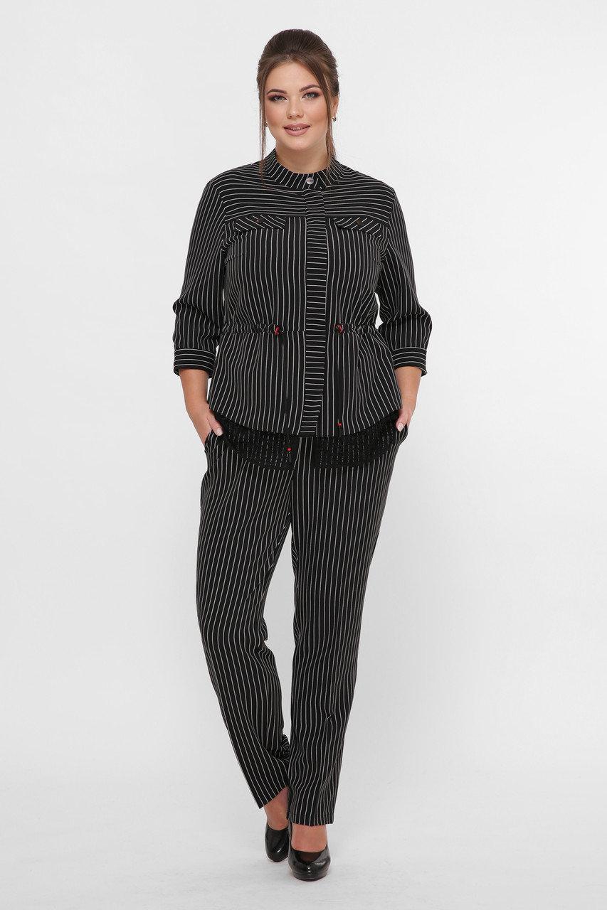 Женский брючный костюм Идеал черный полоска (52-58)