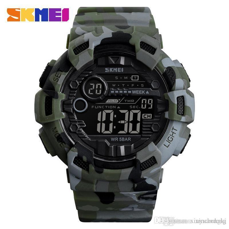 Skmei 1472 champion зеленый камуфляж мужские спортивные часы