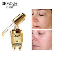 Сыворотка для лица с частицами 24к золота и гиалуроновой кислотой Bioaqua 24k Gold Skin Care (30мл), фото 1