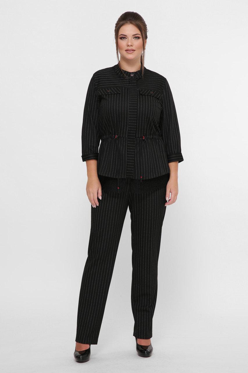Классический брючный костюм Идеал черный (52-58)
