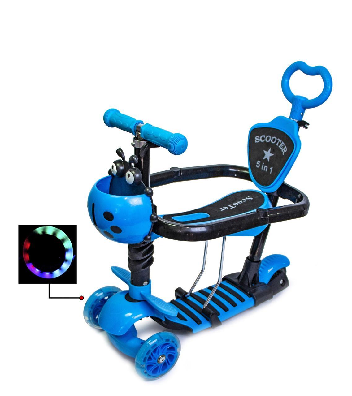 Детский самокат Scale Sports 5 в 1 Божья коровка Светло голубой цвет С ограничителем Светящиеся колеса