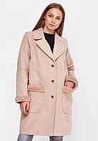 Стильное удлиненное  женское пальто оверсайз декорированное мехом на рукавах и карманах, с оложным воротником