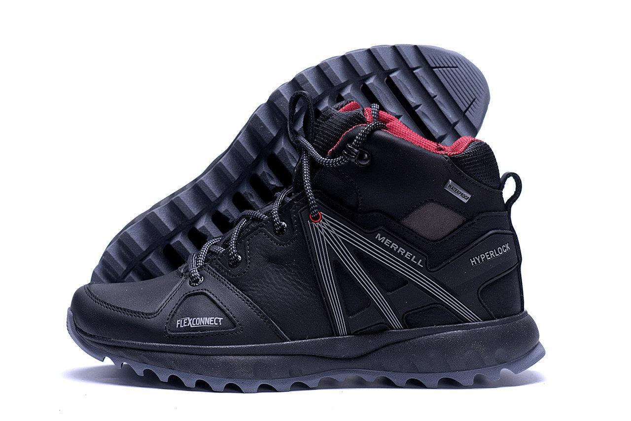 Мужские зимние кожаные ботинки в стиле Merrell Hyperlock Black