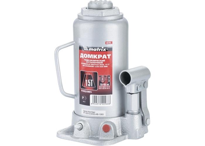 Домкрат гидравлический бутылочный, 15 т, h подъема 230-460 мм MTX MASTER 507299