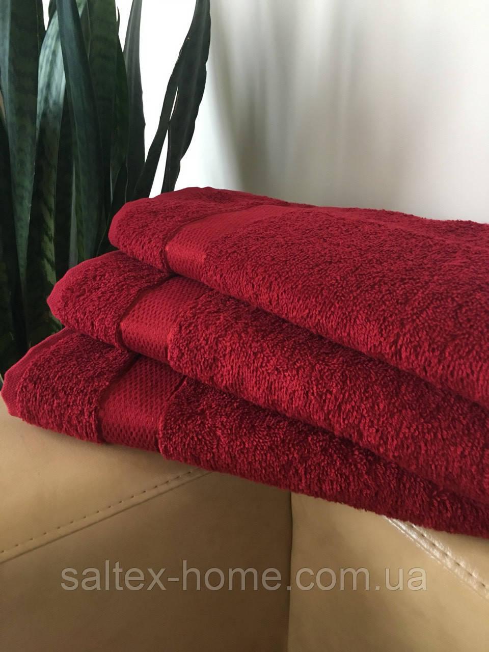 Махровое полотенце 40х70 см для лица, 400 г/м, Узбекистан, бордового цвета
