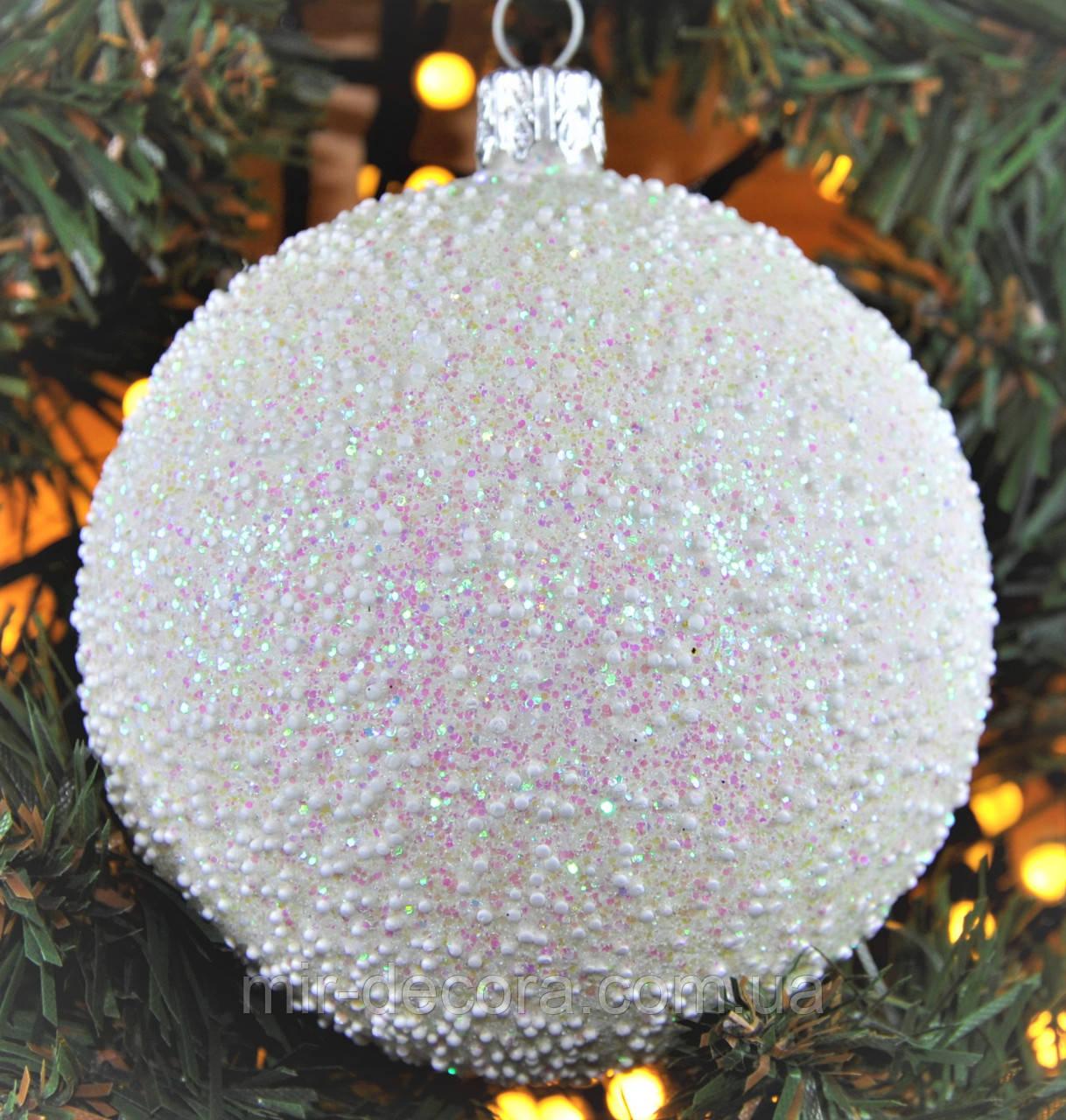 "Шар на елку с блестками пластиковый ""Снег"" 60  мм"