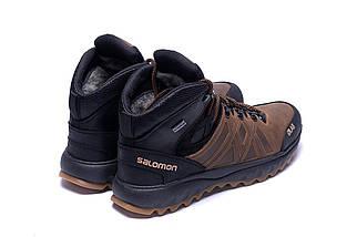 Мужские зимние кожаные ботинки в стиле Salomon SLAB Olive, фото 3