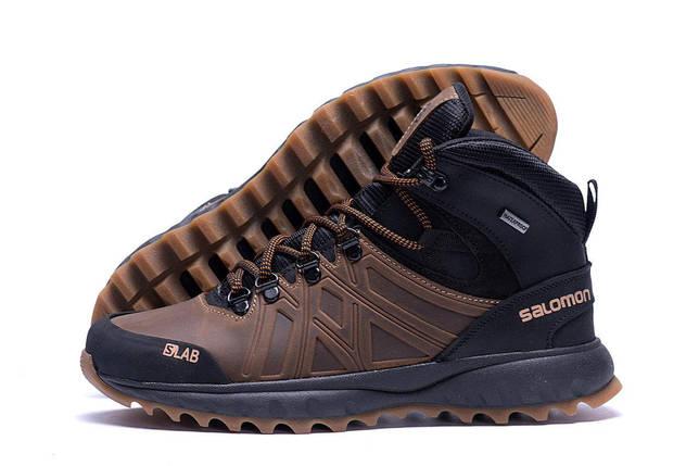 Мужские зимние кожаные ботинки в стиле Salomon SLAB Olive, фото 2