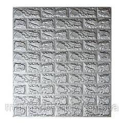 Самоклеющиеся 3D панели под серый кирпич (cеребро)  70х77х0.7 см