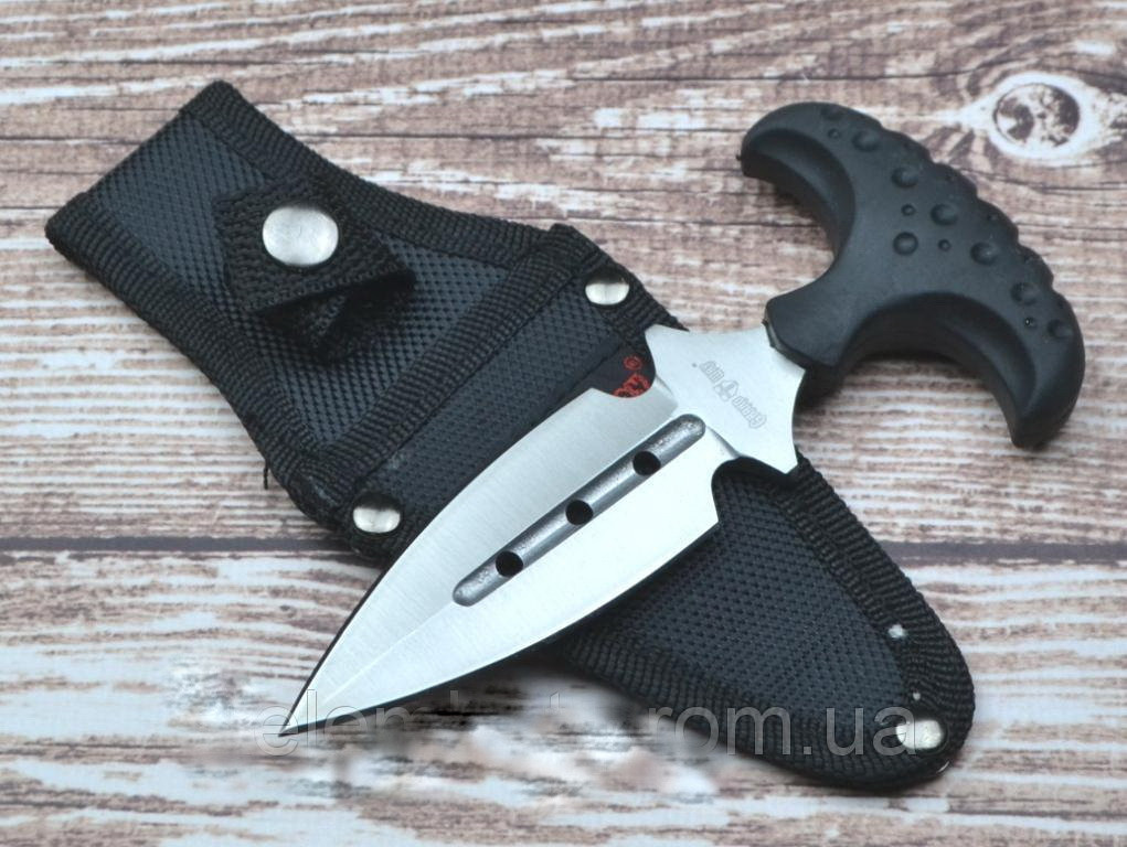 Нож тычок  пуш даггер + чехол, рукоять прорезинена, тычковый нож на подарок туристу, охотнику