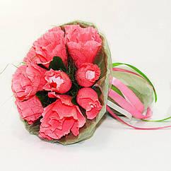 Букет из конфет Розы 15 Рафаэлло коралловые 4151IT