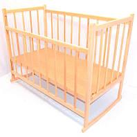 Кроватка-качалка детская классическая деревянная для новорожденных материал отшлифованная натуральная Ольха
