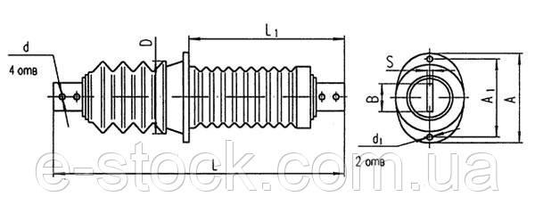 Изоляторы фарфоровые проходные ИП-10-630, Изолятор ИП-10/630-7,5 УХЛ2, Изолятор ИП-10/630-7,5 УХЛ2