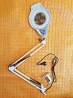 Лампа лупа на штативе настольное крепление с LED диодами ,регулировкой света , увеличение 5 диоптрий