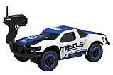 Машинка на радиоуправлении с резиновыми колёсами полноприводная 1:43 HB Toys Muscle синяя, фото 2