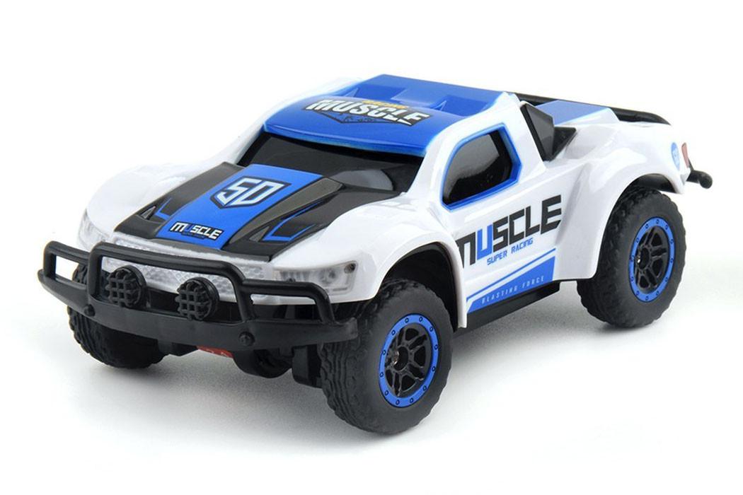 Машинка на радиоуправлении с резиновыми колёсами полноприводная 1:43 HB Toys Muscle синяя