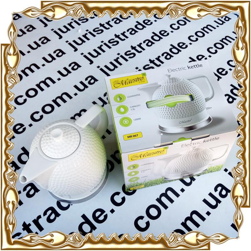 Чайник электрический Maestro, керамика, 1,5 л.(диск.), 1200 Вт. № MR-067
