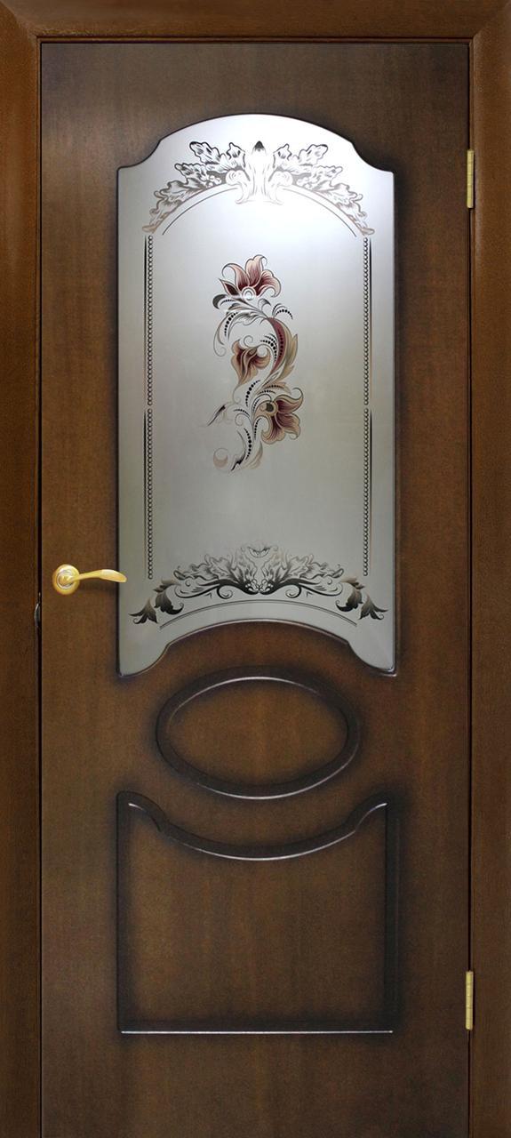 Дверь межкомнатная Омис Виктория СС цветок орех лесной