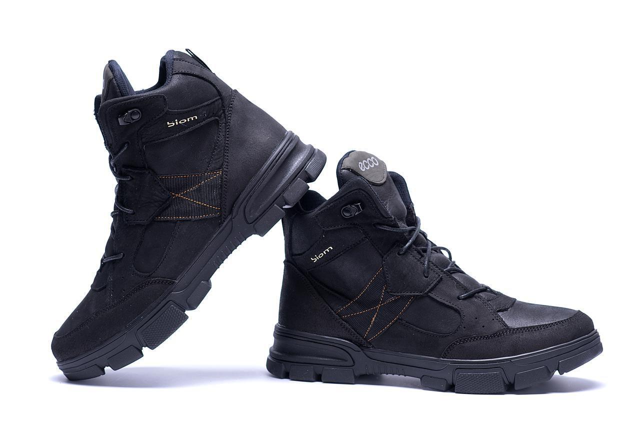 Мужские зимние кожаные ботинки в стиле Ecco biom