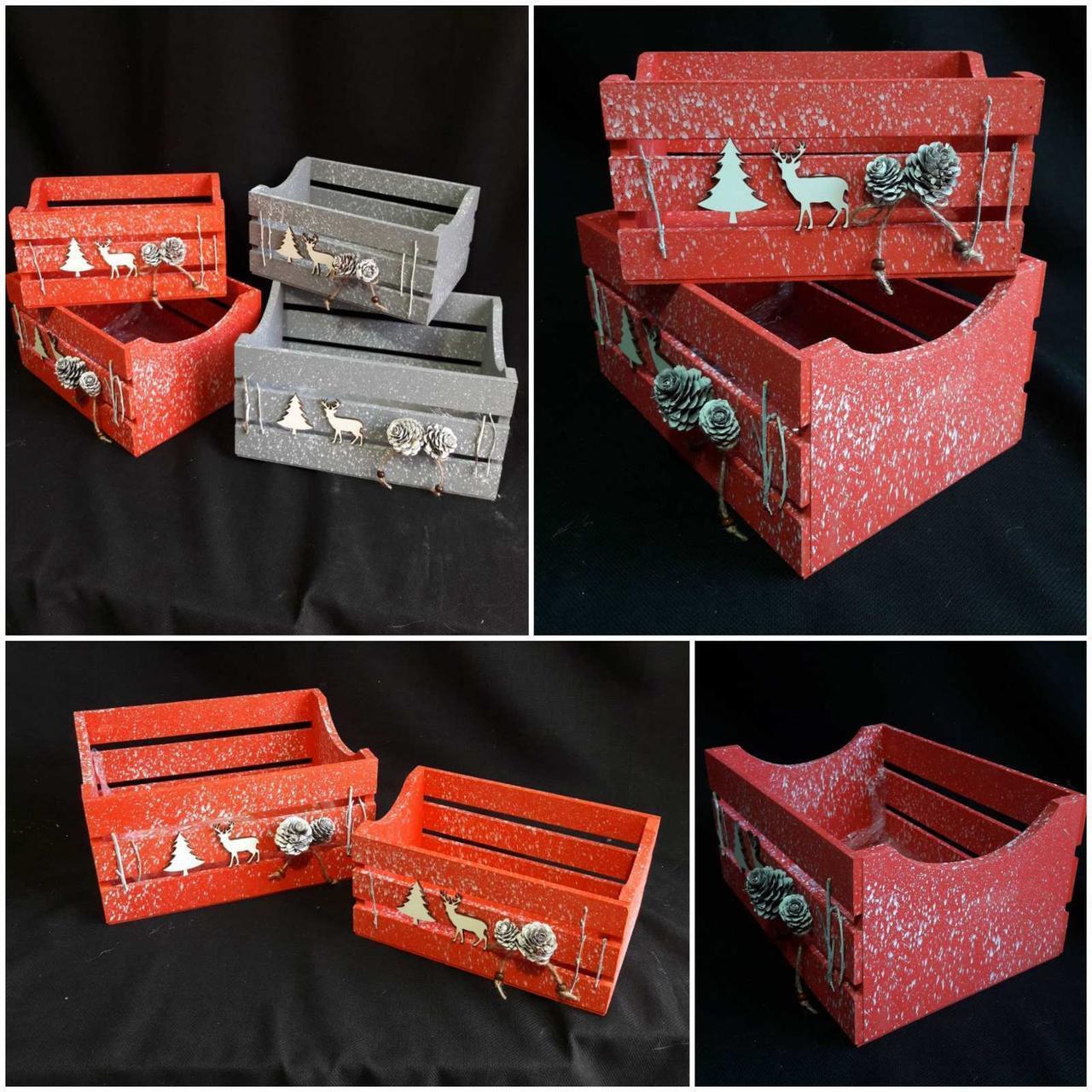 Стильный новогодний ящик, разные цвета, р-ры 14х28х20 см., 125 грн.