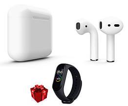 Bluetooth наушники i12TWS белые + фитнес браслет М4 черный