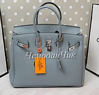 Женская брендовая сумка Гермес голубая точная реплика