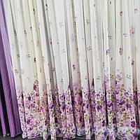 Гардина льняная с узором сиреневые цветы