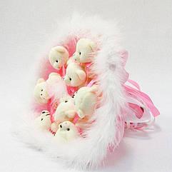 Букет из игрушек Мишки 9 розовый с пушком 5310IT