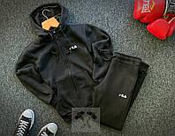 Спортивный костюм ЗИМНИЙ на замке с капюшоном мужской Fila черный, фото 1