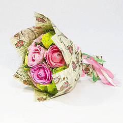Букет из конфет Розы 9 розово-лаймовые крафт 4162IT
