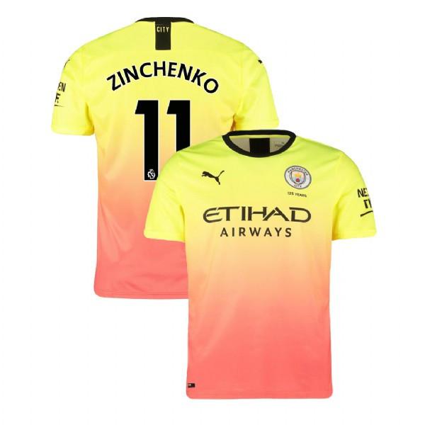 Детская футбольная форма Манчестер Сити ZINCHENKO 11 сезон 2019-2020 резервная желтая
