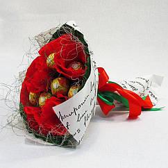 Букет из конфет Фереро роше 15 красно-золотой Крафт 4132IT