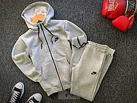 Спортивный костюм ЗИМНИЙ на замке с капюшоном мужской Nike серый, фото 1