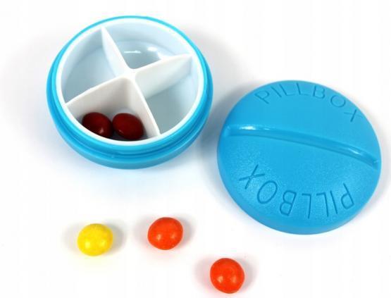 Контейнер для таблеток на 4 приема, голубой
