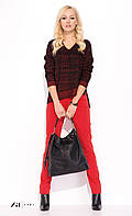 Женские брюки красного цвета из хлопковой ткани. Модель Brygida Zaps