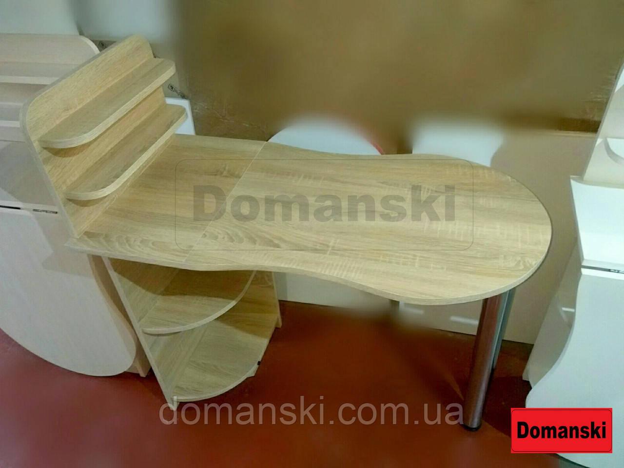 Маникюрный цвет дуб санома,  с фигурной столешницей. Стол для маникюра раскладной с полками для лаков.
