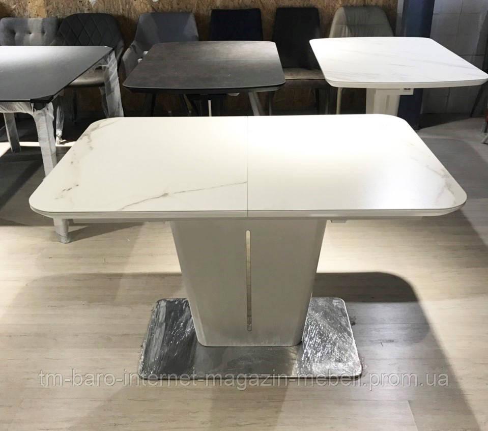 Стол обеденный ALABAMA (120+40)*80*77) керамика белый, Nicolas