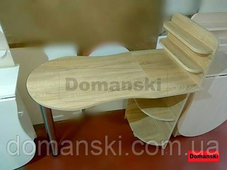 Маникюрный цвет дуб санома,  с фигурной столешницей. Стол для маникюра раскладной с полками для лаков., фото 2
