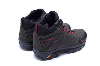 Мужские зимние кожаные ботинки в стиле Merrell Olive, фото 3