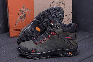 Мужские зимние кожаные ботинки в стиле Merrell Olive, фото 2