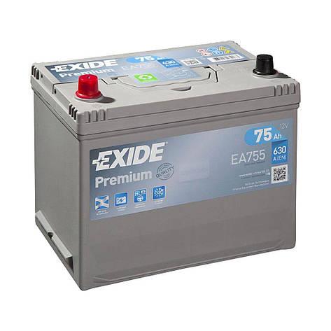 EXIDE 6СТ-75 Аз Premium EA755 Автомобильный аккумулятор, фото 2