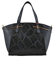 Женская кожаная сумка классическая  питон синяя
