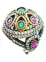 Серебряное кольцо Великолепный век с изумрудом(имитация) и рубином лабораторно созданным