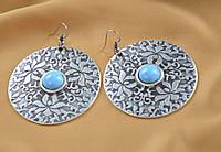Крупные серьги-кольца в египетском стиле,с бирюзой