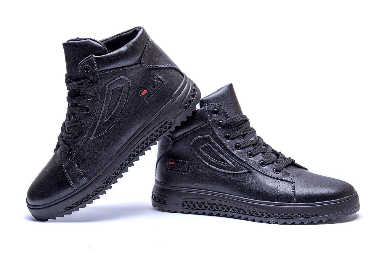 Мужские зимние кожаные ботинки в стиле FILA