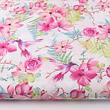 """Отрез ткани """"Колибри в цветущем саду"""" на белом (№2299а), размер 90*160, фото 2"""